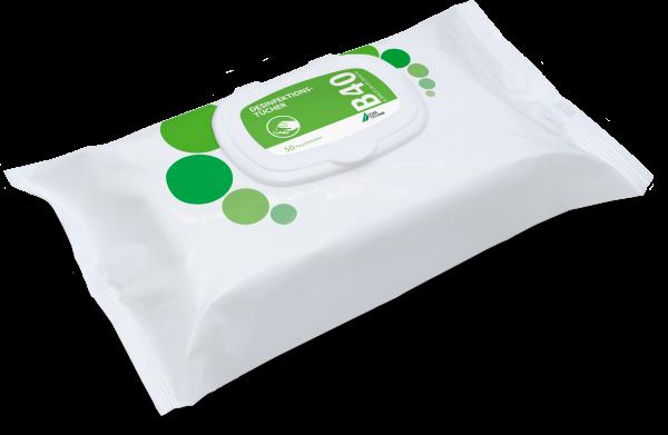 B 40 Desinfektionstücher, 4 Flowpacks à 50 Tücher