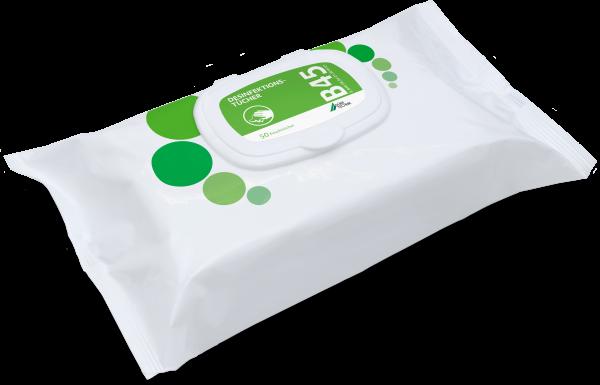 B 45 Desinfektionstücher, 4 Flowpacks à 50 Tücher
